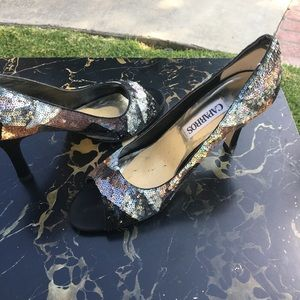 Shoes - Multi colored Sequined Peep Toe Pumps, 4 inch heel